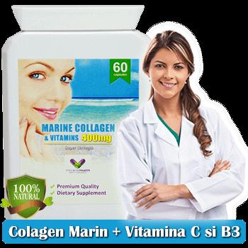 Colagen 400Mg + adaos de Vitamina B3 si Vitamina C - Absorbtie Maxima - Produs Foarte Concentrat