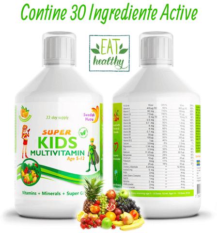 Complex Multivitamine + Minerale + Verdeturi pentru Copii 5-12 ani