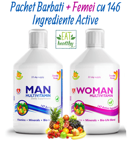 Pachet de Multivitamine + Aminoacizi + Minerale + Verdeturi pentru Femei si Barbati