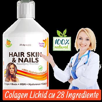 Colagen Lichid Hidrolizat Tip 1 si 3 cu 28 de Ingrediente pentru Par, Piele, Unghii, Ten