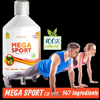 Mega Sport - Complex Lichid Super Concentrat pentru Sportivi cu Aminoacizi si Vitamine, Minerale , Verdeturi